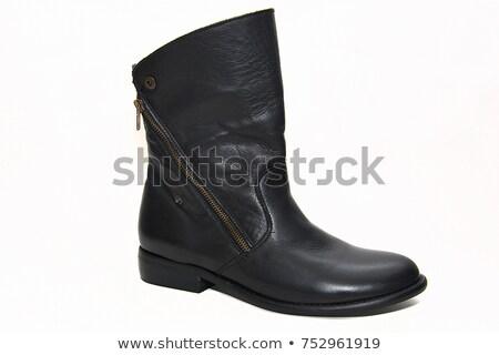 ストックフォト: 黒 · 靴 · 孤立した · 白 · 女の子 · 革