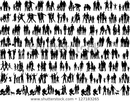 family silhouette walking stock photo © illustrart