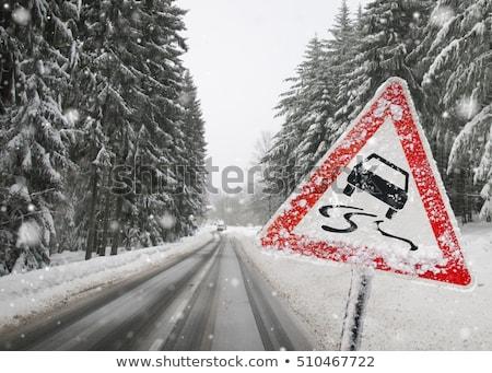 scivoloso · strada · vettore · segno · strada · neve - foto d'archivio © djdarkflower