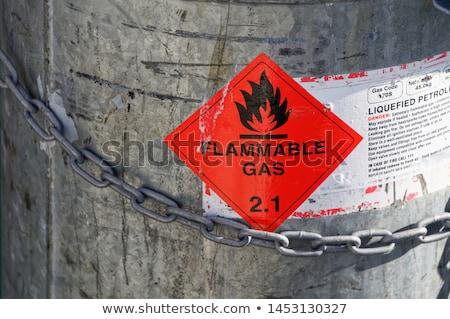 Gyúlékony benzin felirat háttér információ láng Stock fotó © djdarkflower