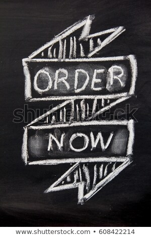 Stock photo: A chalkboard sign on a white background - Order now