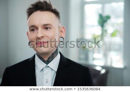 Fetiche moda modelo tatuaje aislado negro Foto stock © Elisanth
