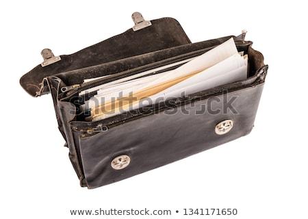 старомодный портфель имбирь кожа золото Сток-фото © zhekos