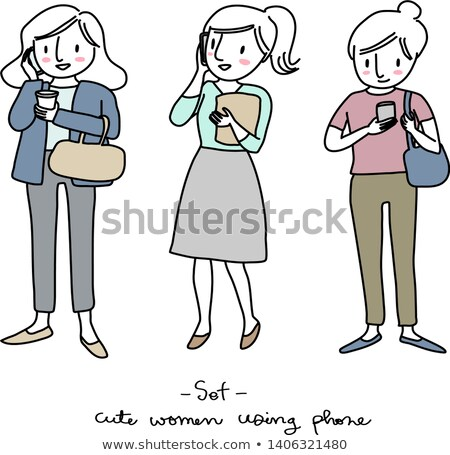 Cheerful lovely young woman with folders talking on cell phone Stock photo © deandrobot