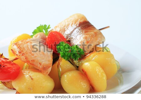 truta · batatas · comida · peixe · carne - foto stock © digifoodstock