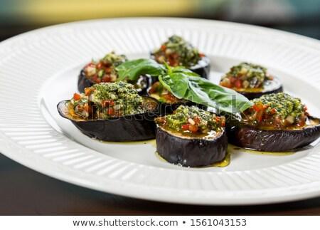 Berenjena pesto rebanadas pan frito salsa Foto stock © Digifoodstock
