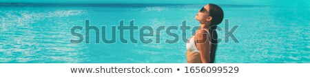 Caribbean turquoise getaway beach destination lady Stock photo © Maridav