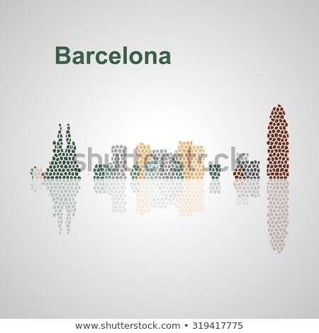 gyönyörű · naplemente · múzeum · Barcelona · Spanyolország · fa - stock fotó © artjazz