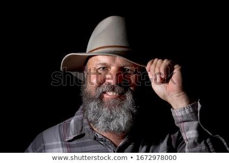 Szürke kalap fehér divat fekete viselet Stock fotó © bluering
