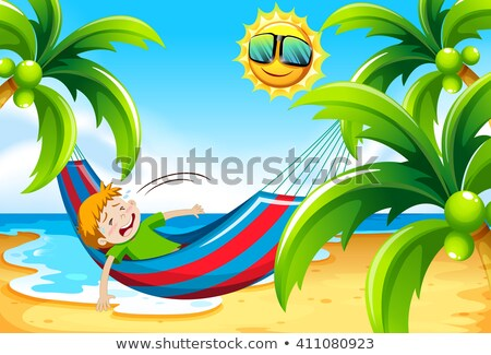 Boy having heat stroke at the beach Stock photo © bluering