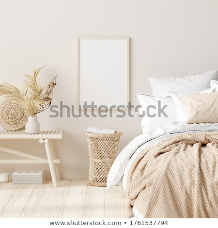 Empty blank white canvas on a floor, home bedroom interior decor Stock photo © manera