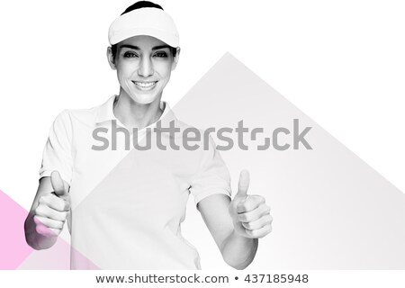 Composite image of female athlete showing thumbs up Stock photo © wavebreak_media