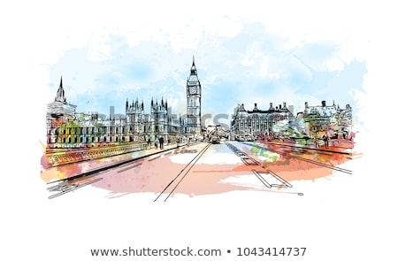 Hand drawn ink line sketch of London. Watercolor background Stock photo © balasoiu