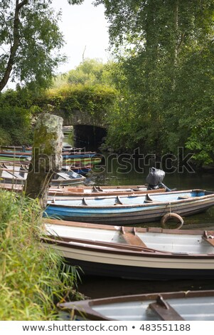 Roeien boten kasteel brug water gras Stockfoto © morrbyte
