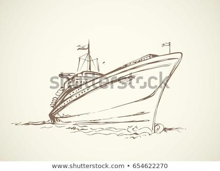 vrachtschip · illustratie · retro-stijl · oceaan · boot · schip - stockfoto © rastudio