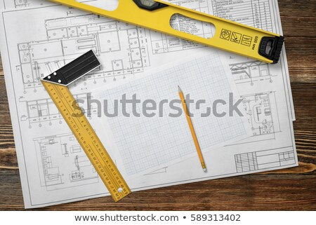 ruler and pencils on a blueprints stock photo © klss