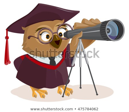 teacher owl looks through telescope stock photo © orensila