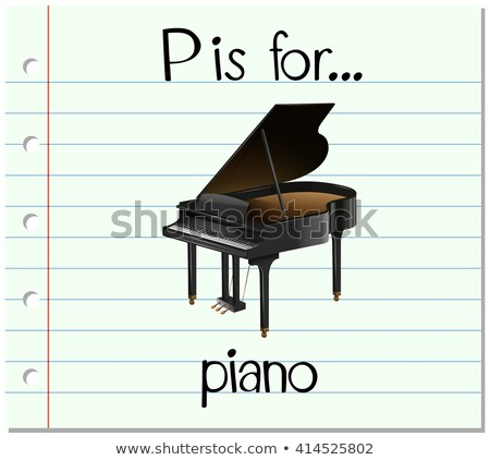 Flashcard letter P is for piano Stock photo © bluering