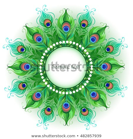 Mandala of green peacock feathers Stock photo © blackmoon979