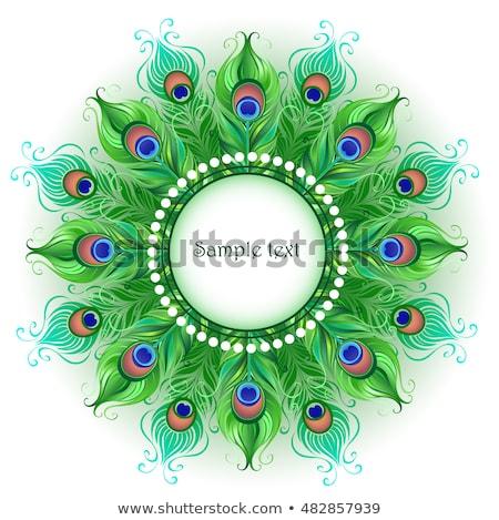 mandala · verde · pavo · real · brillante · blanco - foto stock © blackmoon979