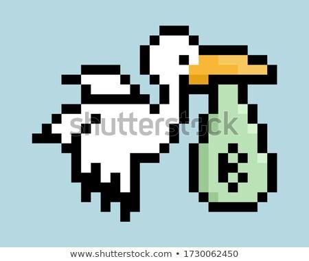 Aranyos gólya rajz játszik számítógép égbolt Stock fotó © jawa123