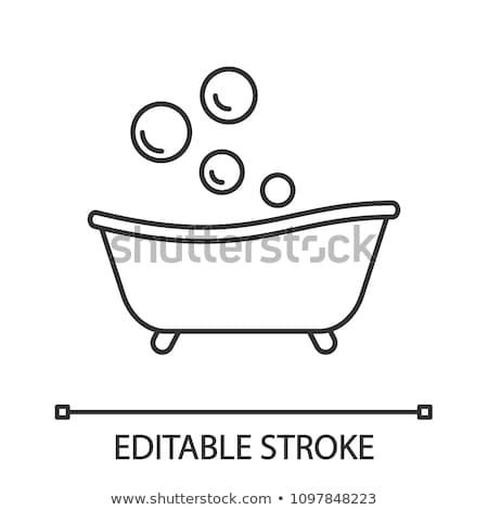 Bebé bañera icono blanco negro agua nina Foto stock © angelp
