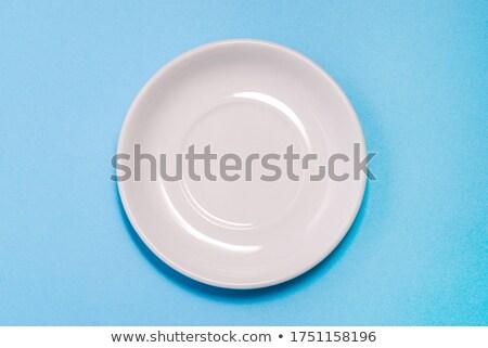 Beyaz mavi fincan tabağı yalıtılmış yemek boş Stok fotoğraf © Digifoodstock