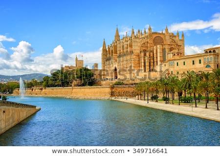 Gothic katedry mallorca Hiszpania la jezioro Zdjęcia stock © Xantana