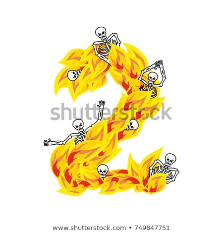 Number 2 hellish flames and sinners font. Fiery lettering two. I Stock photo © popaukropa