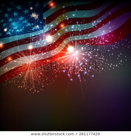 Foto stock: Bandeira · americana · fogos · de · artifício · vetor · abstrato · projeto · fundo