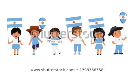 Menino menina bandeira ilustração crianças Foto stock © bluering