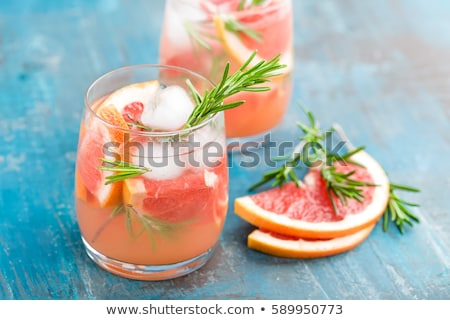 Stockfoto: Grapefruit And Rosemary Gin Cocktail Refreshing Drink With Ice