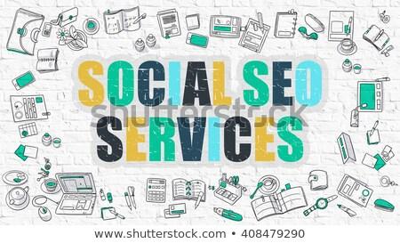 seo service in multicolor doodle design stock photo © tashatuvango