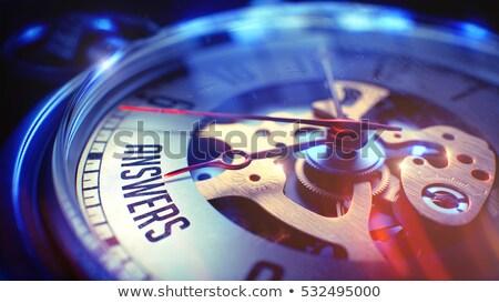 Stock fotó: Idő · válaszok · zsebóra · arc · 3d · illusztráció · üzlet
