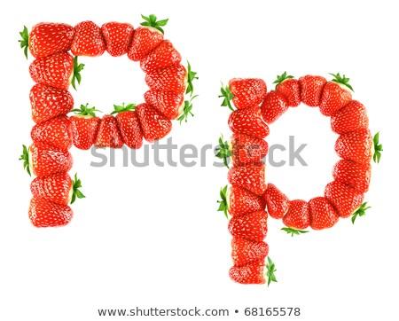 P betű eper betűtípus piros bogyó ábécé Stock fotó © popaukropa