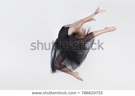 Genç balerin siyah şeffaf elbise Stok fotoğraf © julenochek