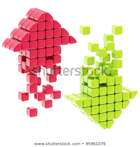 three cubes and red arrow - 3d illustration Stock photo © drizzd