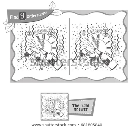 find 9 differences game clock christmas Stock photo © Olena