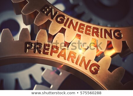 Golden Cog Gears with Engineering Preparing Concept. 3D. Stock photo © tashatuvango