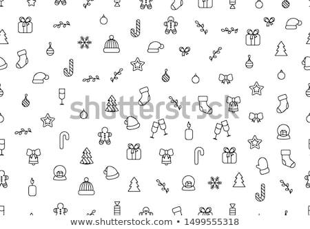 karácsony · vonal · ikonok · gyűjtemény · fa · bor - stock fotó © konturvid