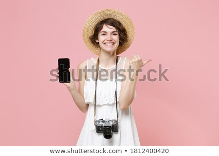 mujer · sesión · silla · revista · teléfono · celular · mujer · sonriente - foto stock © is2