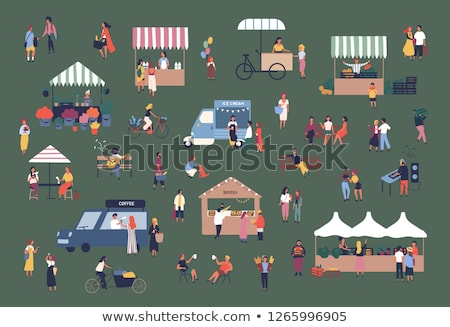 Girl at bakery stall at market Stock photo © IS2