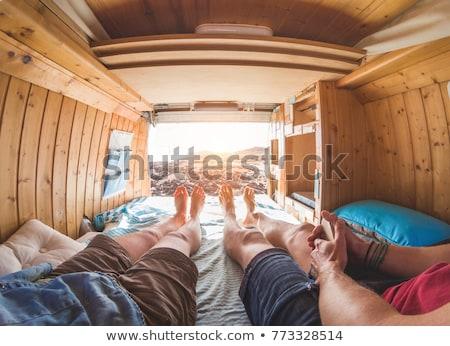 iki · çift · ayaklar · diğer · yatak · aile - stok fotoğraf © zurijeta