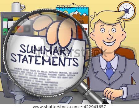 Foto stock: Summary Statements Through Magnifier Doodle Style