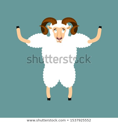 Ram confused emotions. Sheep is perplexed. Farm animal surprise. Stock photo © popaukropa
