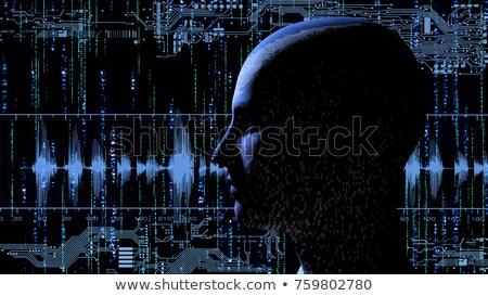 Humanismo tecnologia cabeça matriz eletrônico 3D Foto stock © ankarb