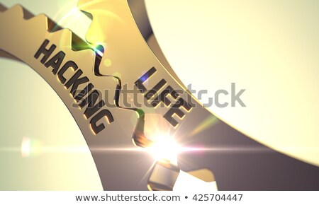 Golden Cog Gears with Life Hacking Concept. 3D Illustration. Stock photo © tashatuvango