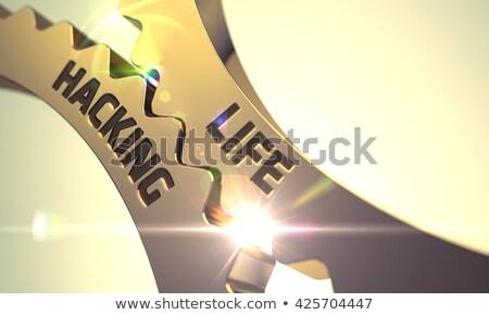 golden cog gears with life hacking concept 3d illustration stock photo © tashatuvango
