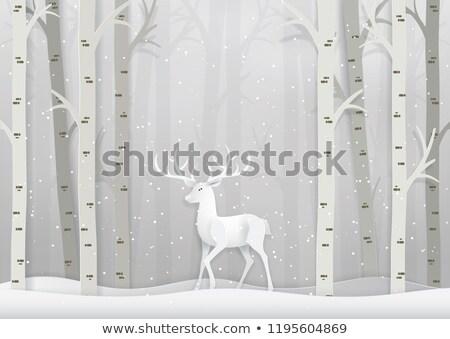 Inverno cervo scena carta arte Natale Foto d'archivio © Krisdog