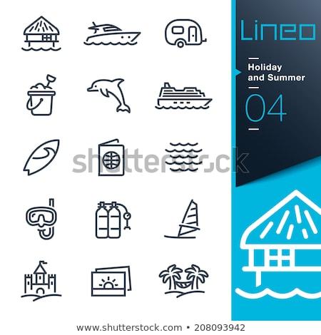 Tatil hatıralar hat ikon vektör yalıtılmış Stok fotoğraf © RAStudio
